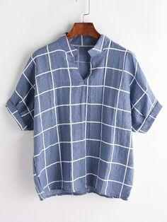 Shop Grid Print Dip Hem V-Neck Blouse online. SheIn offers Grid Print Dip Hem V-Neck Blouse & more to fit your fashionable needs. V Neck Blouse, Short Sleeve Blouse, Collar Blouse, Grey Blouse, Purple Blouse, Collar Shirts, Long Sleeve, Look Fashion, Fashion Outfits