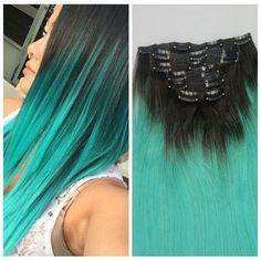 "14"" 24""Brazilian Virgin Hair Clip In Human Hair Extension Two Tone Ombre Green…"