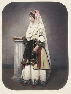 Greek traditional dress 1855 Source by gypsitech dresses ideas Folk Clothing, Greek Clothing, Historical Clothing, Greek Traditional Dress, Traditional Outfits, Folk Fashion, Modern Fashion, Kosem Sultan, Greek Culture