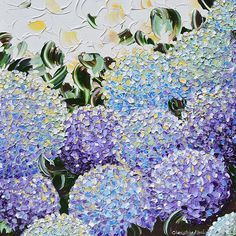"""Spring Hydrangea"" Original, Art, Painting, Modern, Palette Knife, Contemporary, Impasto, Textured, Fine Art, Home Decor, Wall Art, Prints, Interior Design, by Collected California Artist, Christine Krainock"