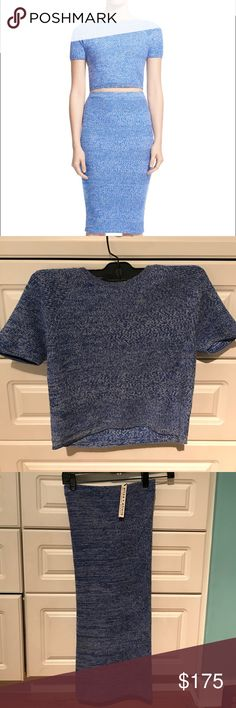 BNWT Alice + Olivia Herringbone Knit 2 Piece Set BNWT Alice and Olivia 2 piece knit herringbone set. Perfect color for Spring. Outfit is sold separately but looking to sell both pieces. Alice + Olivia Dresses Midi