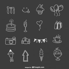 Hand drawn birthday party elements Vector | Free Download