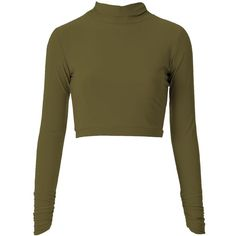 Khaki high neck top (€27) ❤ liked on Polyvore featuring tops, shirts, crop tops, sweaters, stripe crop top, brown shirt, ribbed crop top, stripe shirt and high neck shirts