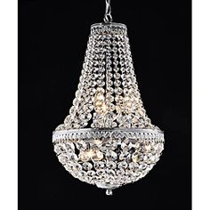 @Overstock.com - Symmetric 6-light Chrome Chandelier - Get the conversation started with this elegant six-light chandelier. Optical glass crystals cascade into a unique tear drop shape that gives this chandelier a striking appearance. The chandelier accepts six candelabra bulbs (not included).  http://www.overstock.com/Home-Garden/Symmetric-6-light-Chrome-Chandelier/6708952/product.html?CID=214117 $159.99