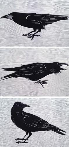 Raven Crow Art, Bird Art, Raven Bird, Jackdaw, Crows Ravens, Art Textile, Manga Pictures, Linocut Prints, Art Techniques