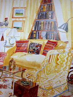 Watercolor of Libby Cameron's living room by Mita Corsini Bland