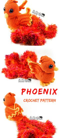 This Phoenix amigurumi pattern is one blazing beauty! Rising strait from the ashes and into your heart, this fire bird is sure to become a favorite! #phoenix #ad #amigurumi #crochet #pattern