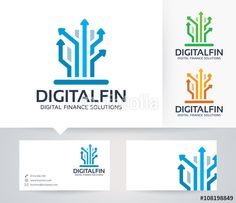 Vector: Digital Finance vector logo with alternative colors and business card template