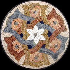 palm mosaics   Mosaics - Mosaic Inserts - Floral Design - IN12