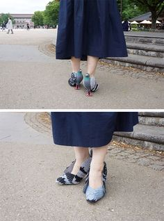 This woman was so worried about frightening pigeons with her footsteps that she turned her heels into birds.