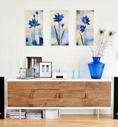Living Four Seasons: Ikea Hacker Bonde Sideboard Blue Wood Livingroom