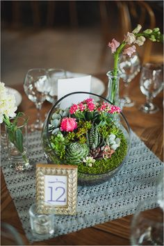 Rainbow Wedding with a Super Cute Program Idea Table number and mini succulent and cactus garden cen