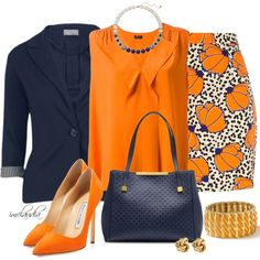 Navy and Orange, created by imclaudia-1 on Polyvore