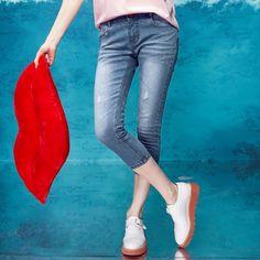 Elf Sack summer hole jeans straight sporty female pant| elfsack