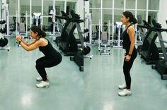 1) Agachamento fechado.</p><p>Em pé, flexione as pernas, levando o bumbum para trás, mantendo o tronco reto e estenda (mas não totalmente) as pernas para cima novamente. Faça 3 séries de 20 repetições.