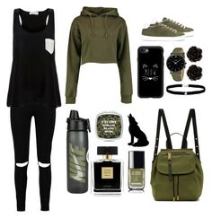 """#6 Black&Khaki"" by anna-daddario ❤ liked on Polyvore featuring Boohoo, LEATHER CROWN, Solid & Striped, Casetify, Marc Jacobs, Amanda Rose Collection, CLUSE, Avon, Erica Lyons and Chanel"