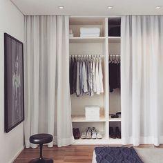 Bedroom: Hidden Closet Bedroom With Curtain Decor - 10 Hidden Closet Ideas For Small Bedrooms Bedroom Wardrobe, Home Bedroom, Bedroom Decor, Open Wardrobe, Bedroom Wall, Mirror Bedroom, Closet Curtains, Closet Doors, Curtain Wardrobe Doors