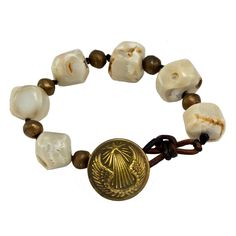 French Military Button & White Coral Bracelet