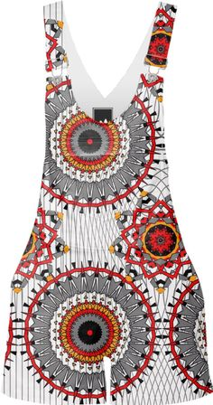 Tribal Orange Grey White Stylish Summer Shorterall Shorts from Print All Over Me