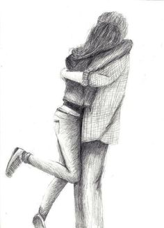 cute, love, sweet, sketch, drawing, couple, hug