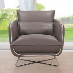 Hosta Grey Top Grain Leather Accent Chair - Overstock™ Shopping - Great Deals on Living Room Chairs