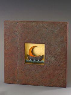"farrelsilver gallery 'Dawn' Nickel, copper, enamel, wood, paper, 23 gold leaf.  12"" x 12"""