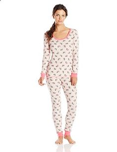 675edc6401 Two-piece printed pajama set featuring scoop-neck top and coordinating pant  with elastic waist. Contrast collar