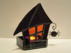 Halloween Decoration PAIR Stained Glass Candle Holders Haunted Mansion Wicca Purple Orange Handmade OOAK. $139.00, via Etsy.