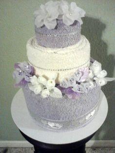Lavender towel cake for bridal showers or weddings.