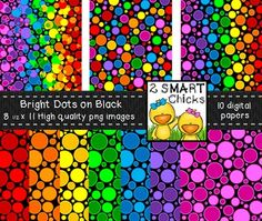 Beautify your products with our Bright Dots on Black Background Paper Bundle! 10 colourful and vibrant PNG file images are included in this set! Once purchased, digital papers can be used for personal or commercial purposes. Kindly remember to include a link back to our TPT store: http://www.teacherspayteachers.com/Store/2-Smart-ChicksHappy creating!