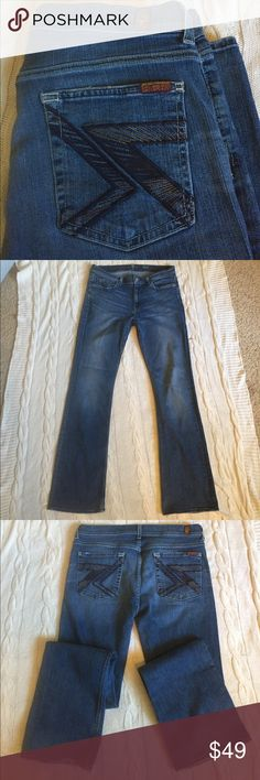 """7 For All Mankind jeans 7 For All Mankind Flynt bootcut jeans. 32"""" waist. 32"""" inseam. Small hole in the knees, fraying at the bottom shown in pictures (just patina as far as I'm concerned) See measurements in pictures. 7 For All Mankind Jeans Boot Cut"""