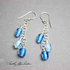 Aqua Blue Lampwork Beads and Sterling Dangle Earrings~Sparkly Fun Earrings! Perfect for Lovers of anything Blue and Shiny! These earrings are a work of art! I have handmade each of the sparkly lampwor