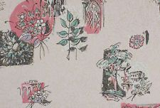 1950's Vintage Wallpaper Scenic Columns Flowers on Pink