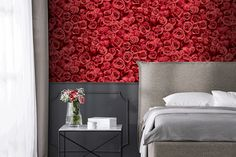 Red, the colour of fire and blood, a colour that ignites an array of emotions. From feelings of passion to associations with aggression and even danger. This is a perfect accent colour. Colors Of Fire, Pink Suit, Accent Colors, Wallpaper, Bed, Floral, Furniture, Beautiful, Second Skin