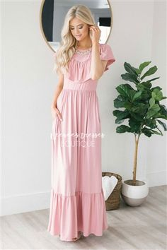 8ef3027803e5 Pink Ruffle Detail Maxi Modest Dress | Best and Affordable Modest Boutique  | Cute Modest Dresses and Skirts for Church