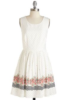 Cue the Cuteness Dress - Short, Woven, Multi, Polka Dots, Floral, Print, Daytime Party, A-line, Sleeveless, Spring, Summer, Scoop