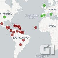 Veja no mapa quais países e territórios já tiveram casos registrados pelo vírus da zika nesta epidemia atual