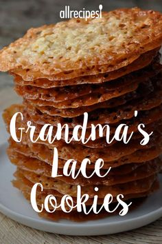 "Grandma's Lace Cookies | ""Delicious! A similar - and similarly crisp - cookie with the wonderful flavor of toasted sesame seeds is the Benne Wafer. Mixes up in just a few minutes all at once in one bowl."" #cookies #cookierecipes #bakingrecipes #dessertrecipes #cookieideas"