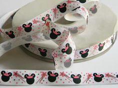 "Princess Minnie Mouse Ribbon 5 yards of 7/8"" White Grosgrain w/ Silver Foil Wand Dots and Crown Hair Bow Party Favor Tie Minnies Bowtique by HouseofHairDecor on Etsy"