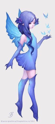 """""""Sobre las rosas azules como una noche de luna... Las mariposas volaban creando mágicas figuras... Eran azules... Porque se alimentaban de las rosas mas hermosas que alguna vez ojos hayan podido observar... Esas rosas especiales solo crecen en los jardines de la Reina... Al amparo de la noche... Brillando mágicamente bajo los rayos de la luna... Y  posándose como exóticas joyas sobre su azul cabellera""""..."""