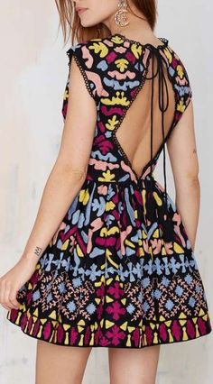 Nasty Gal Dream Weaver Hand-Embroidered Dress - Fit-n-Flare | Dresses