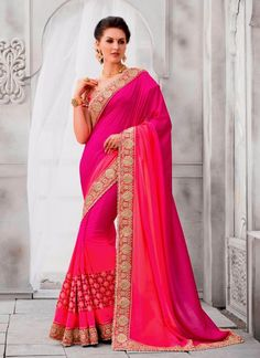 Groovy Cotton Silk Hot Pink Patch Border Work Classic Designer Saree