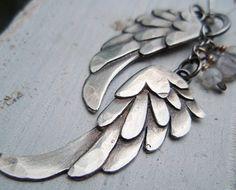 silver wings pendant petite black bird by ArtigianoJewelBox, $164.00