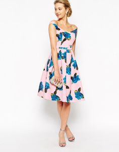 Chi Chi London | Chi Chi London Off Shoulder Full Prom Midi Dress In All Over Floral Print at ASOS