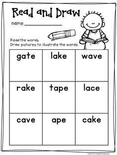 Long a Word Work Activities CVCe Words. Activities to practice and reinforce long vowel phonics skills.