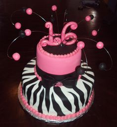 Loving this small 16th birthday cake! Animal print is very cool
