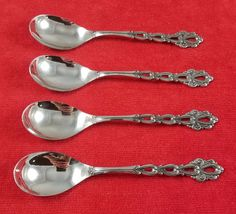 "4 Egg / Ice Cream Spoons Chandelier by Oneida Community Stainless Flatware 6"" #Oneida"
