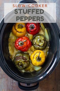These unique slow cooker stuffed peppers are filled with ground beef and veggies with the surprise ingredients of hard-boiled eggs and raisins. Make this recipe mild or spicy to suit your preference. Healthy Meats, Healthy Recipes On A Budget, Low Carb Dinner Recipes, Vegetarian Recipes Dinner, Healthy Cooking, Appetizer Recipes, Real Food Recipes, Cooking Tips, Cooking Recipes