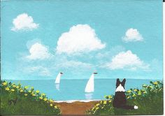 Border Collie Dog ACEO Folk Art Painting Original Miniature by Todd Young