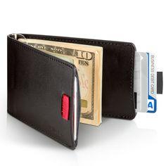 Wally Mínimo Monedero de cuero con Pull-Tab y clip del dinero